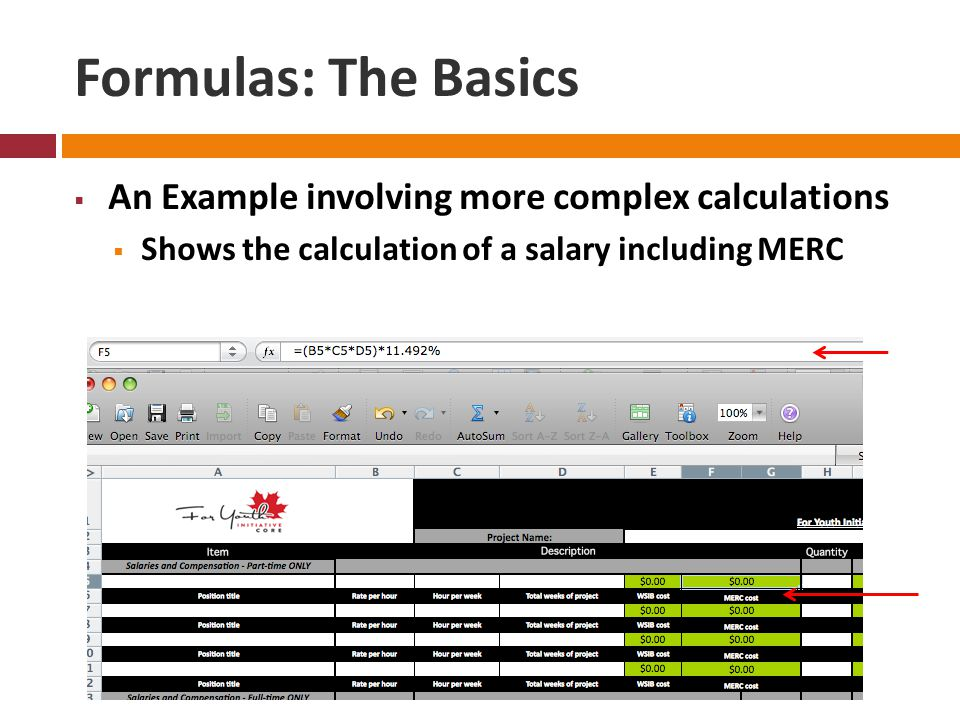 Formulas: The Basics  An Example involving more complex calculations  Shows the calculation of a salary including MERC