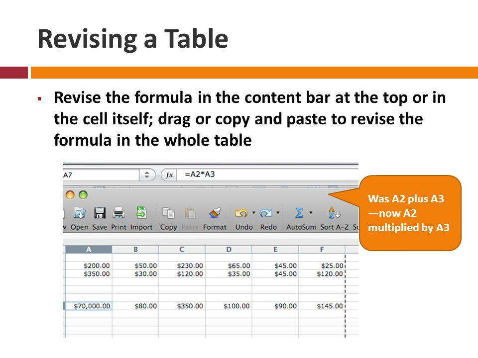 Revising a Table  Revise the formula in the content bar at the top or in the cell itself; drag or copy and paste to revise the formula in the whole table Was A2 plus A3 —now A2 multiplied by A3