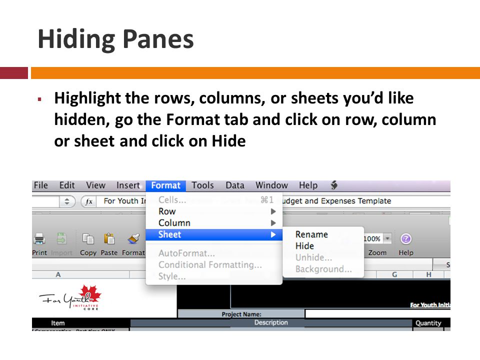 Hiding Panes  Highlight the rows, columns, or sheets you'd like hidden, go the Format tab and click on row, column or sheet and click on Hide