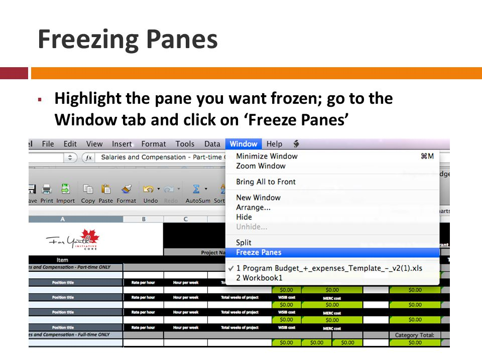 Freezing Panes  Highlight the pane you want frozen; go to the Window tab and click on 'Freeze Panes'