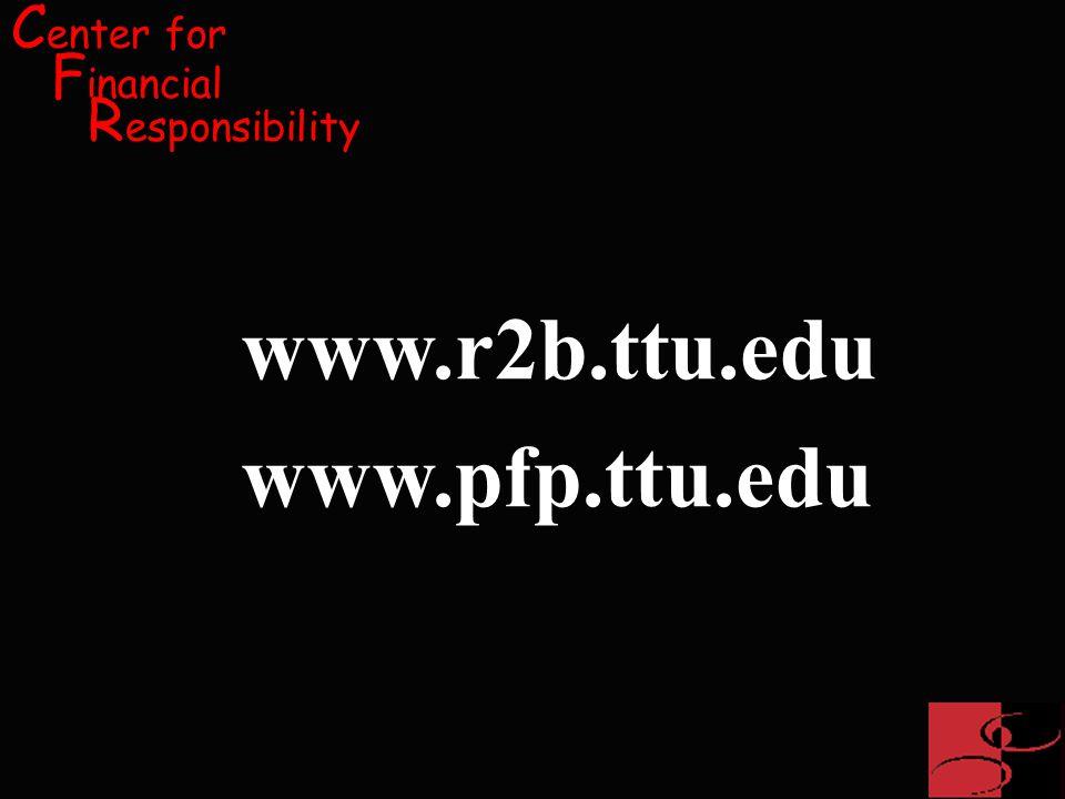 C enter for F inancial R esponsibility www.r2b.ttu.edu www.pfp.ttu.edu