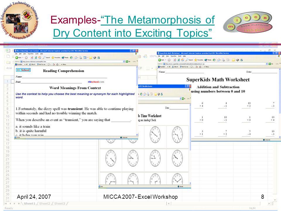 April 24, 2007MICCA 2007- Excel Workshop39 Questions.
