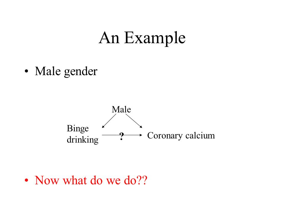 An Example Male gender Now what do we do Binge drinking Coronary calcium Male