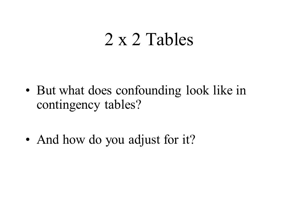 2 x 2 Tables But what does confounding look like in contingency tables.