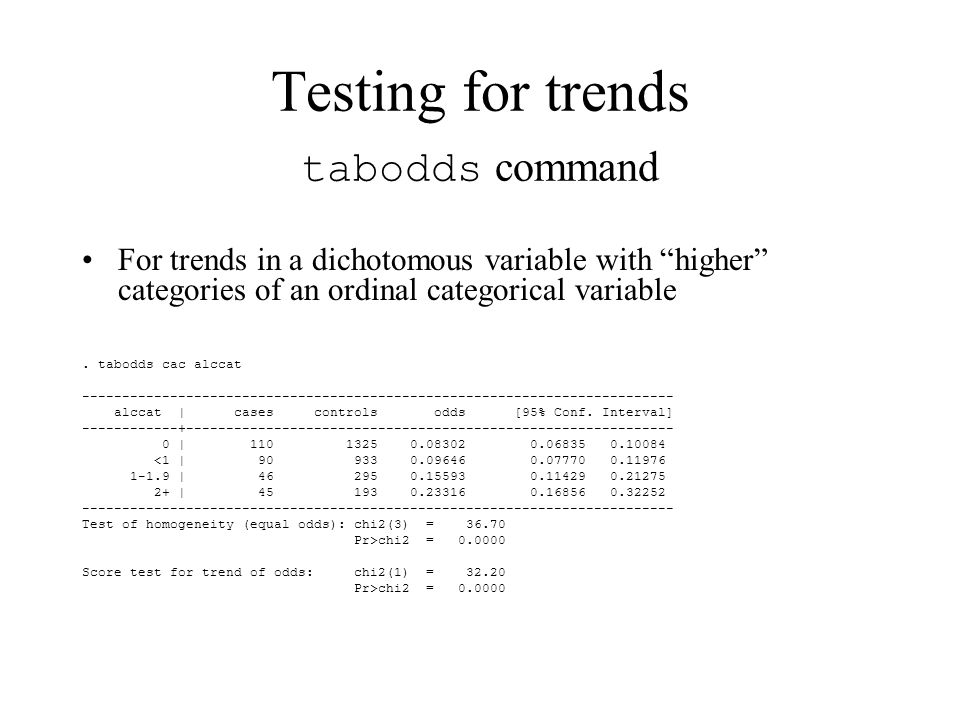 For trends in a dichotomous variable with higher categories of an ordinal categorical variable.