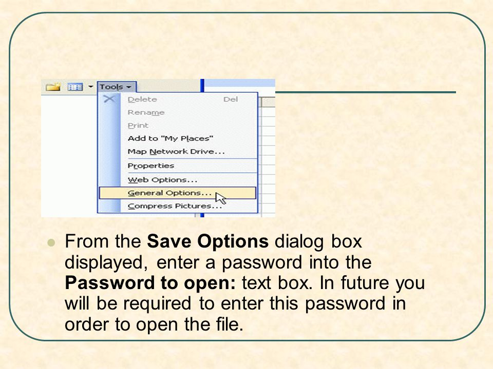 From the Save Options dialog box displayed, enter a password into the Password to open: text box.