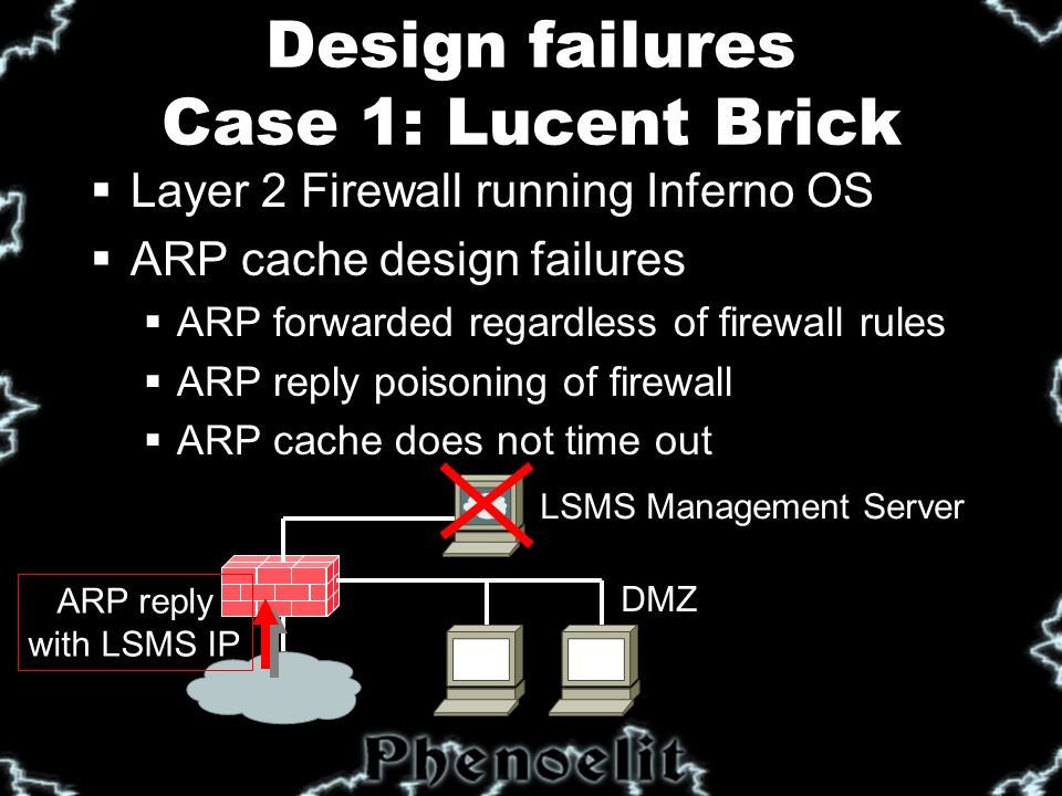 """Design failures Case 2: Ascend Router  Undocumented discovery protocol  Special packet format to UDP discard port  Leaks information remotely  IP address/Netmask  MAC address  Name and Serial number  Device type  Features  Can set IP address and name using SNMP write community (Default: """"write )"""