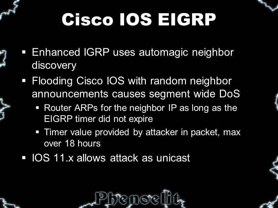Cisco IOS EIGRP  Affected IOS versions: ALL  Cisco's fix: none