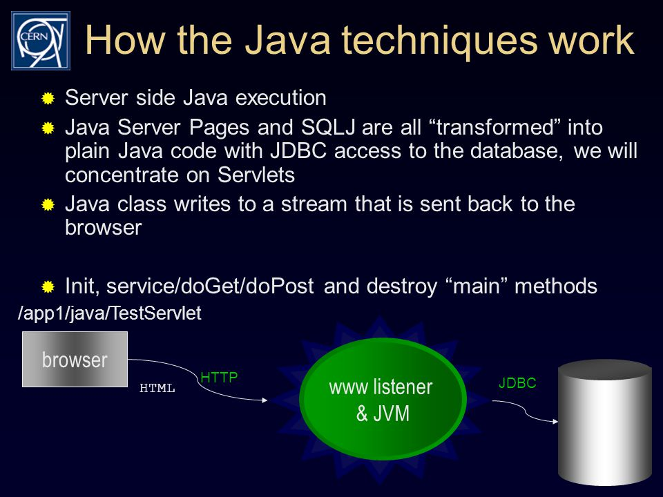 How the Java techniques work  Server side Java execution  Java Server Pages and SQLJ are all transformed into plain Java code with JDBC access to the database, we will concentrate on Servlets  Java class writes to a stream that is sent back to the browser  Init, service/doGet/doPost and destroy main methods browser /app1/java/TestServlet HTTP HTML JDBC www listener & JVM
