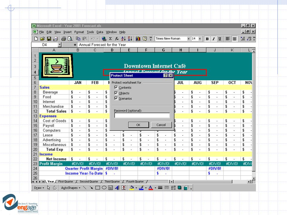 6)For multiple worksheets, each sheet must be protected individually:  Select:Ungroup from the sheet tab shortcut menu.