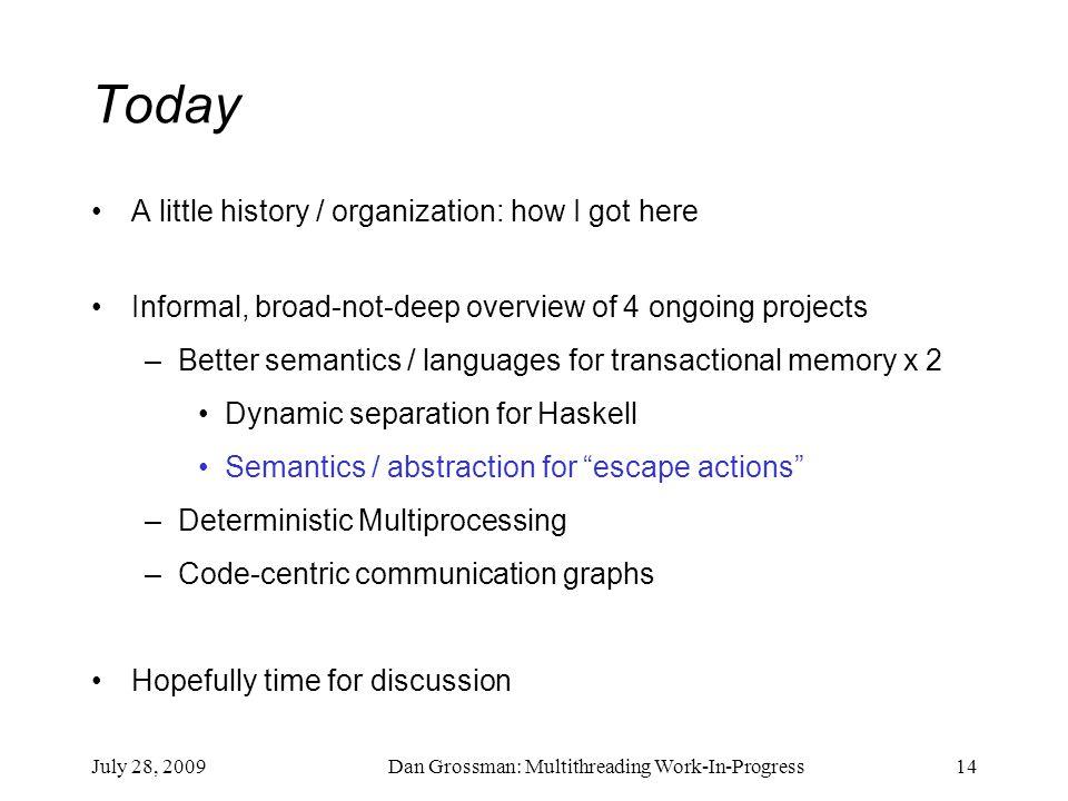 July 28, 2009Dan Grossman: Multithreading Work-In-Progress14 Today A little history / organization: how I got here Informal, broad-not-deep overview o