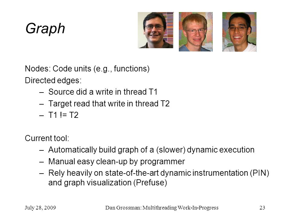 July 28, 2009Dan Grossman: Multithreading Work-In-Progress23 Graph Nodes: Code units (e.g., functions) Directed edges: –Source did a write in thread T1 –Target read that write in thread T2 –T1 != T2 Current tool: –Automatically build graph of a (slower) dynamic execution –Manual easy clean-up by programmer –Rely heavily on state-of-the-art dynamic instrumentation (PIN) and graph visualization (Prefuse)