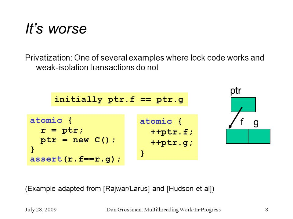 July 28, 2009Dan Grossman: Multithreading Work-In-Progress8 It's worse Privatization: One of several examples where lock code works and weak-isolation