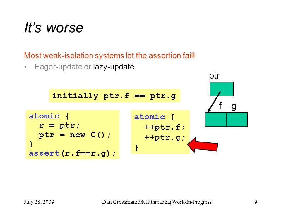 July 28, 2009Dan Grossman: Multithreading Work-In-Progress9 atomic { ++ptr.f; ++ptr.g; } It's worse Most weak-isolation systems let the assertion fail.