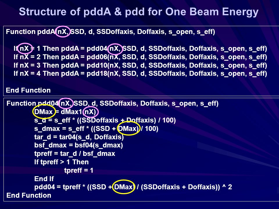 Function pdd04(nX, SSD, d, SSDoffaxis, Doffaxis, s_open, s_eff) DMax = dMax1(nX) s_d = s_eff * ((SSDoffaxis + Doffaxis) / 100) s_dmax = s_eff * ((SSD + DMax) / 100) tar_d = tar04(s_d, Doffaxis) bsf_dmax = bsf04(s_dmax) tpreff = tar_d / bsf_dmax If tpreff > 1 Then tpreff = 1 End If pdd04 = tpreff * ((SSD + DMax) / (SSDoffaxis + Doffaxis)) ^ 2 End Function Function pddA(nX, SSD, d, SSDoffaxis, Doffaxis, s_open, s_eff) If nX = 1 Then pddA = pdd04(nX, SSD, d, SSDoffaxis, Doffaxis, s_open, s_eff) If nX = 2 Then pddA = pdd06(nX, SSD, d, SSDoffaxis, Doffaxis, s_open, s_eff) If nX = 3 Then pddA = pdd10(nX, SSD, d, SSDoffaxis, Doffaxis, s_open, s_eff) If nX = 4 Then pddA = pdd18(nX, SSD, d, SSDoffaxis, Doffaxis, s_open, s_eff) End Function Structure of pddA & pdd for One Beam Energy