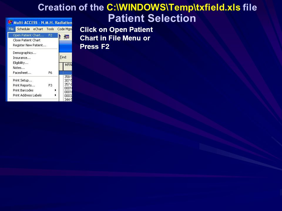 Creation of the C:\WINDOWS\Temp\txfield.xls file Click on Open Patient Chart in File Menu or Press F2 Patient Selection