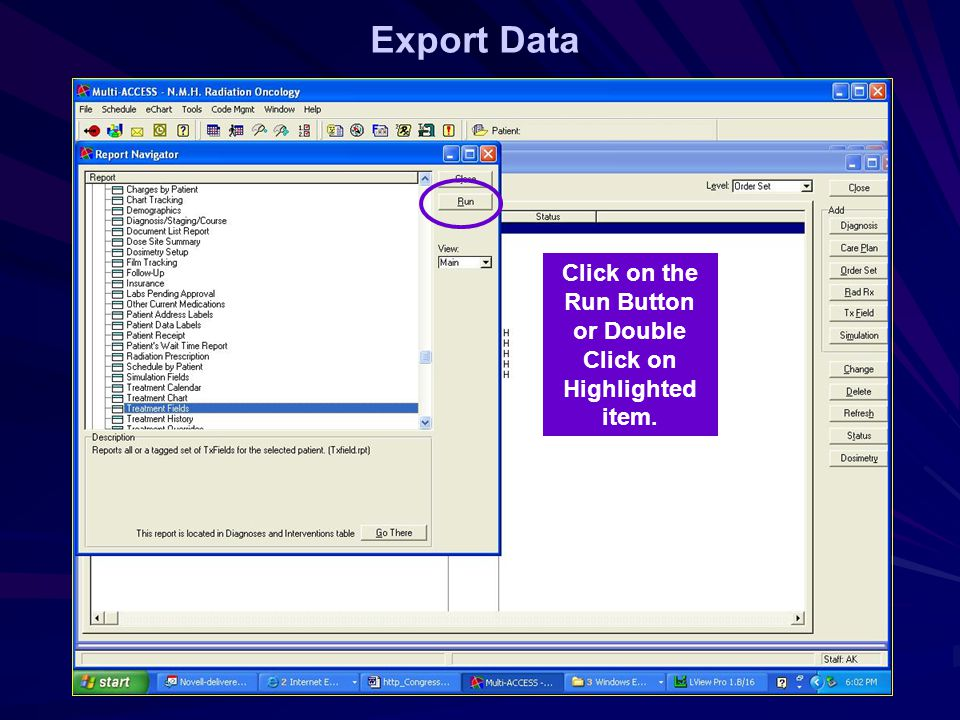 Export Data Click on the Run Button or Double Click on Highlighted item.