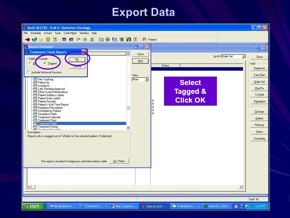 Export Data Select Tagged & Click OK