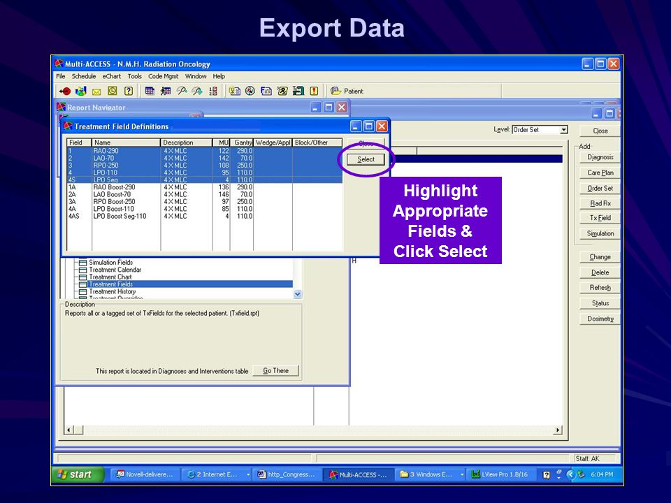Export Data Highlight Appropriate Fields & Click Select