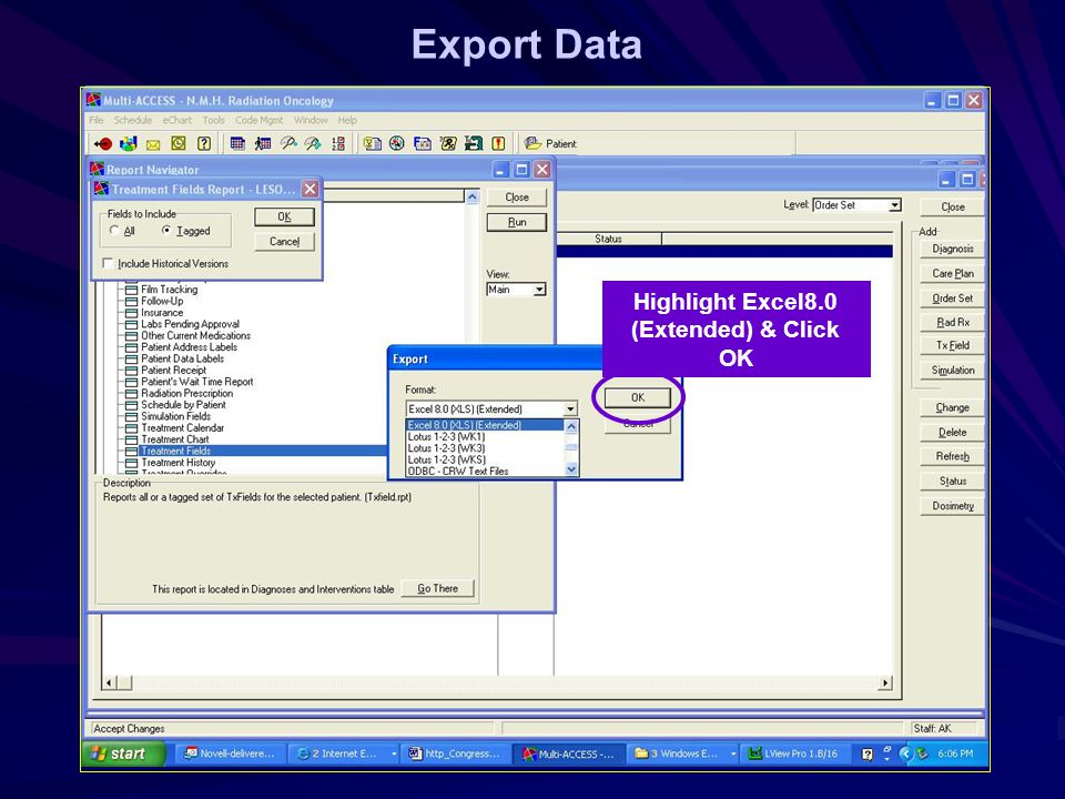 Export Data Highlight Excel8.0 (Extended) & Click OK