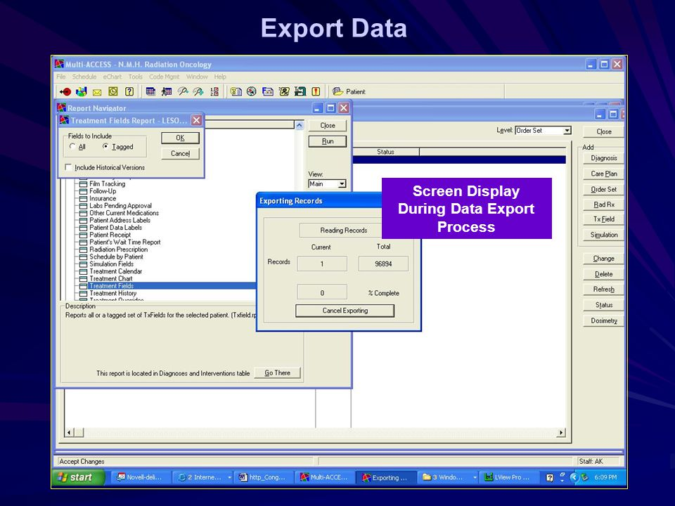 Export Data Screen Display During Data Export Process