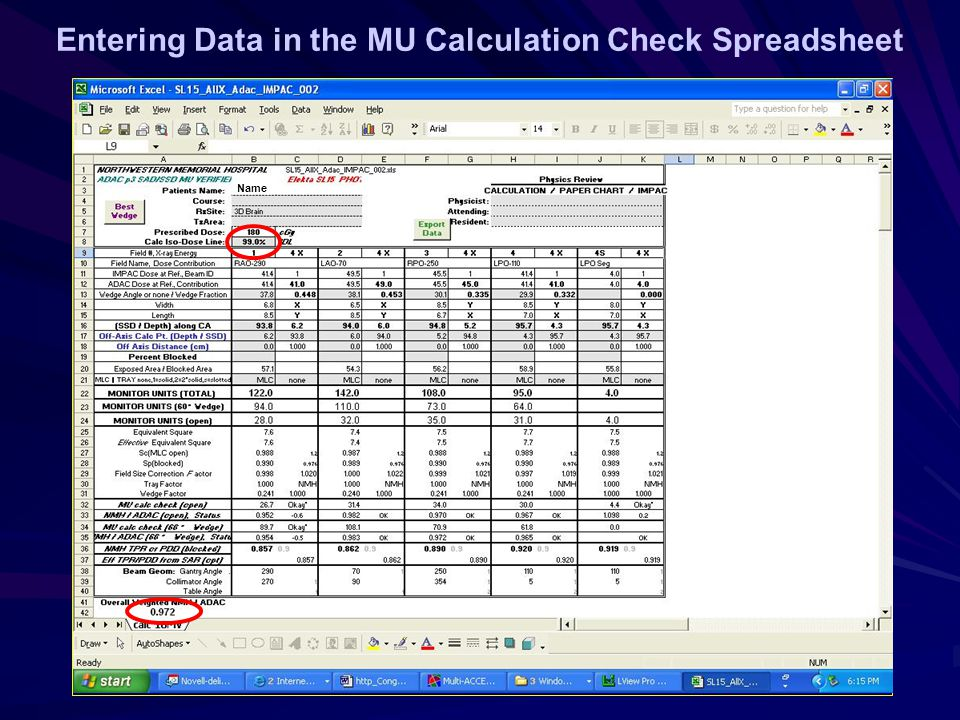 Entering Data in the MU Calculation Check Spreadsheet Name