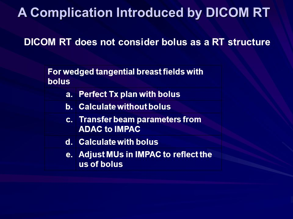 A Complication Introduced by DICOM RT DICOM RT does not consider bolus as a RT structure For wedged tangential breast fields with bolus a.Perfect Tx p