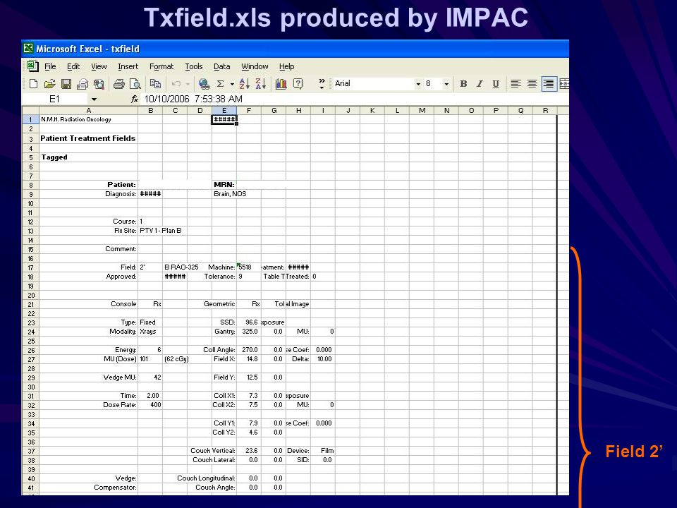 Txfield.xls produced by IMPAC Field 2'