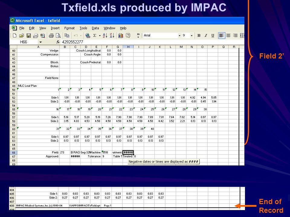 Txfield.xls produced by IMPAC Field 2' End of Record
