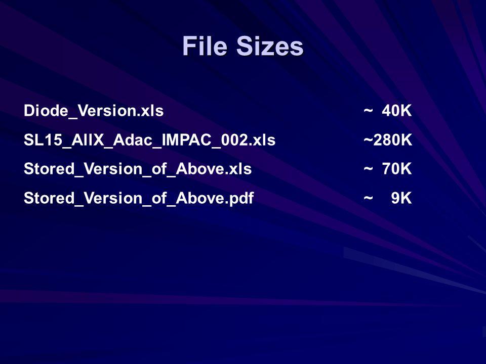File Sizes Diode_Version.xls~ 40K SL15_AllX_Adac_IMPAC_002.xls~280K Stored_Version_of_Above.xls~ 70K Stored_Version_of_Above.pdf~ 9K