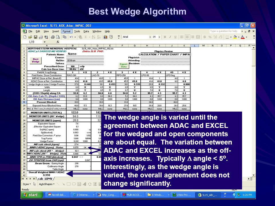 Best Wedge Algorithm Name The wedge angle is varied until the agreement between ADAC and EXCEL for the wedged and open components are about equal.