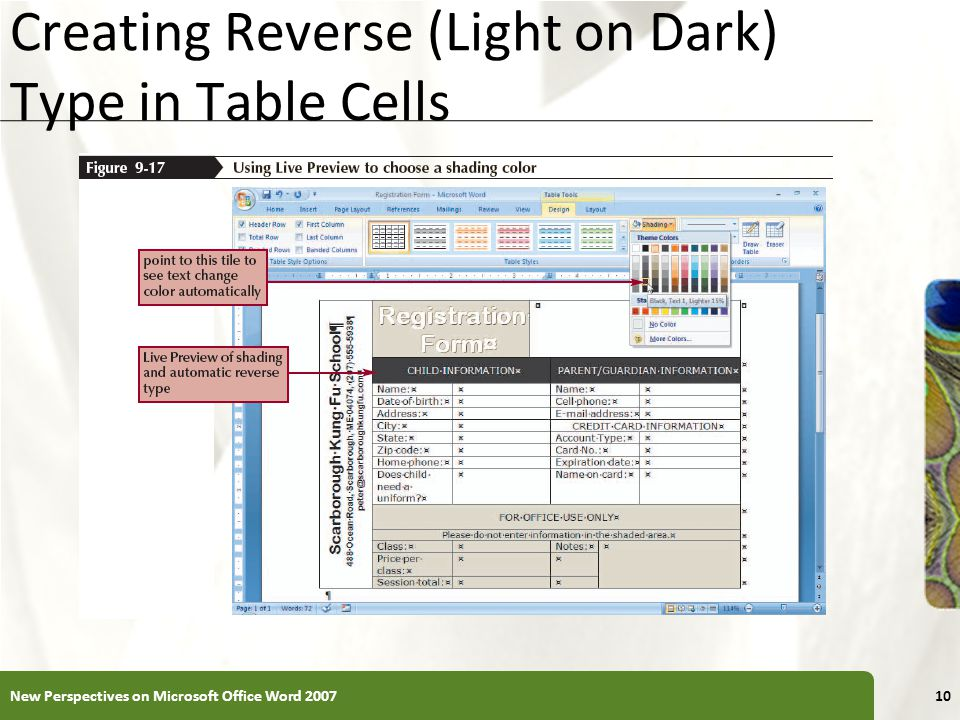XP Creating Reverse (Light on Dark) Type in Table Cells New Perspectives on Microsoft Office Word 200710