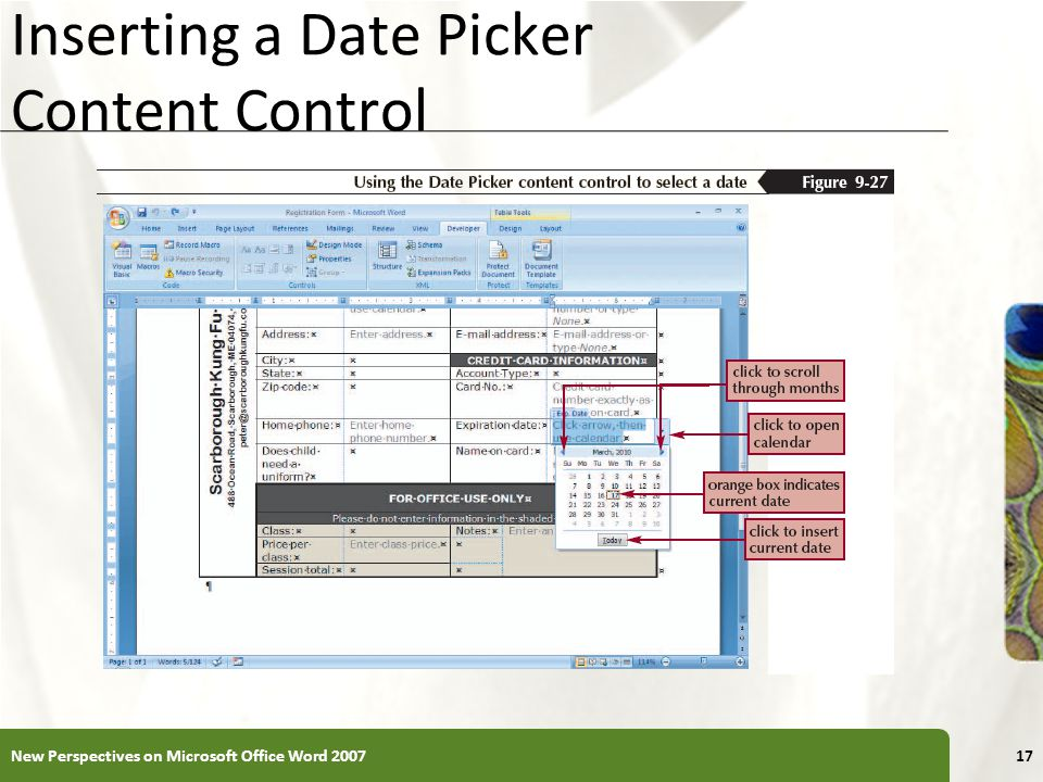 XP Inserting a Date Picker Content Control New Perspectives on Microsoft Office Word 200717