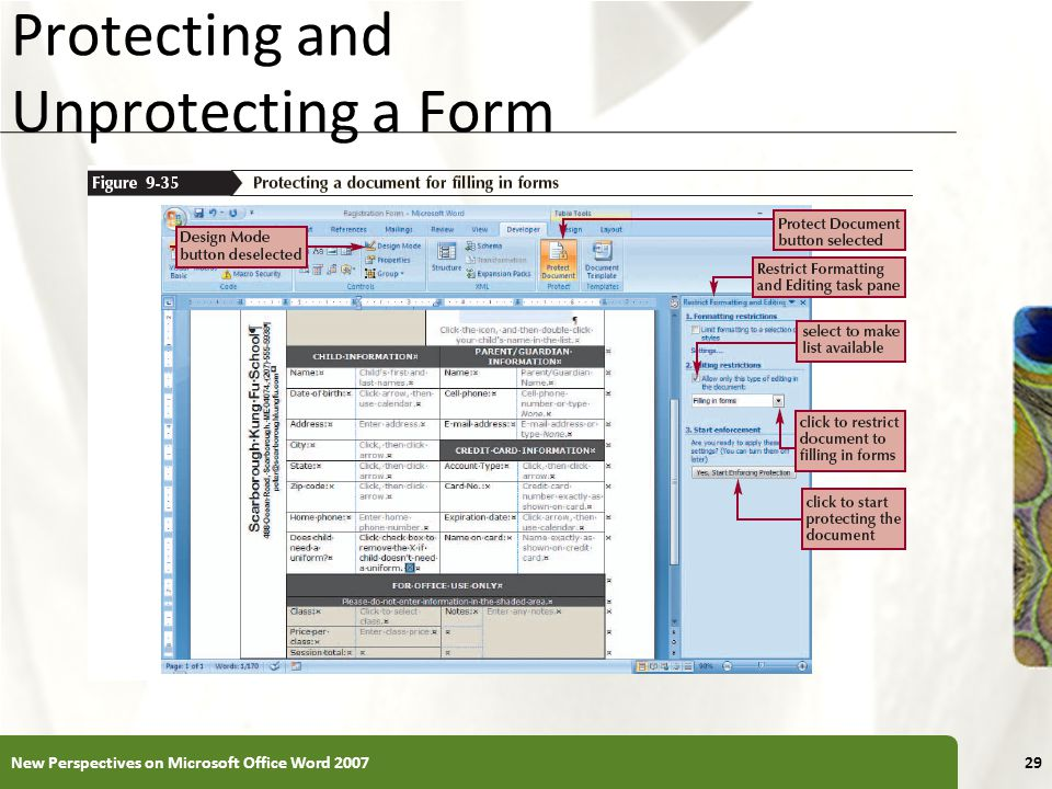 XP Protecting and Unprotecting a Form New Perspectives on Microsoft Office Word 200729