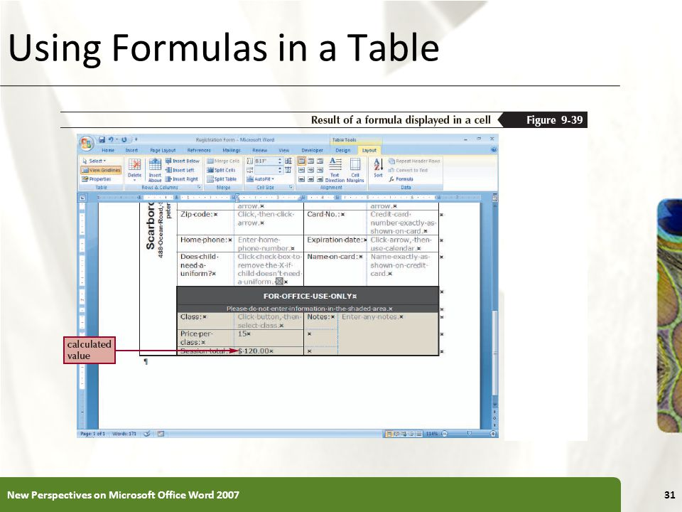 XP Using Formulas in a Table New Perspectives on Microsoft Office Word 200731