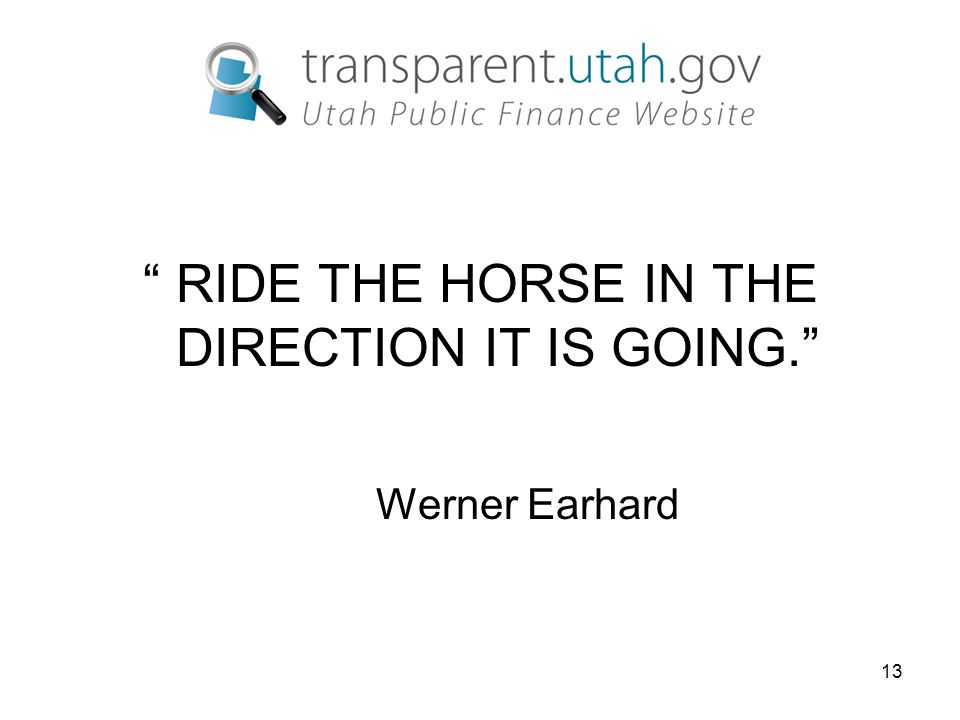 13 RIDE THE HORSE IN THE DIRECTION IT IS GOING. Werner Earhard