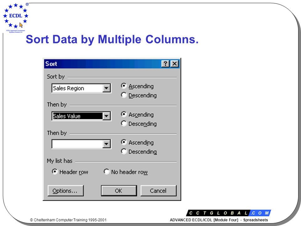 © Cheltenham Computer Training 1995-2001 ADVANCED ECDL/ICDL [Module Four] - Spreadsheets Sort Data by Multiple Columns.
