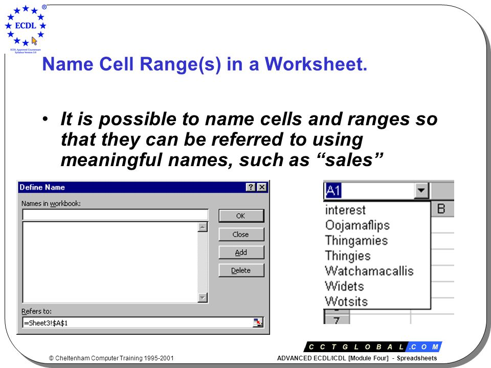 © Cheltenham Computer Training 1995-2001 ADVANCED ECDL/ICDL [Module Four] - Spreadsheets Name Cell Range(s) in a Worksheet.