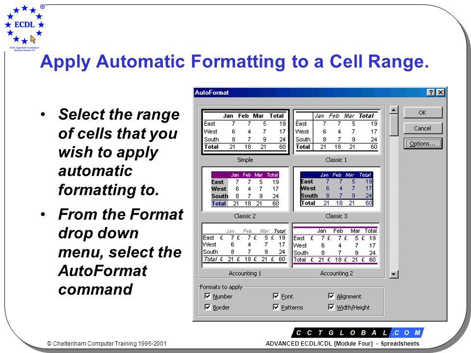 © Cheltenham Computer Training 1995-2001 ADVANCED ECDL/ICDL [Module Four] - Spreadsheets Create Custom Number Formats.