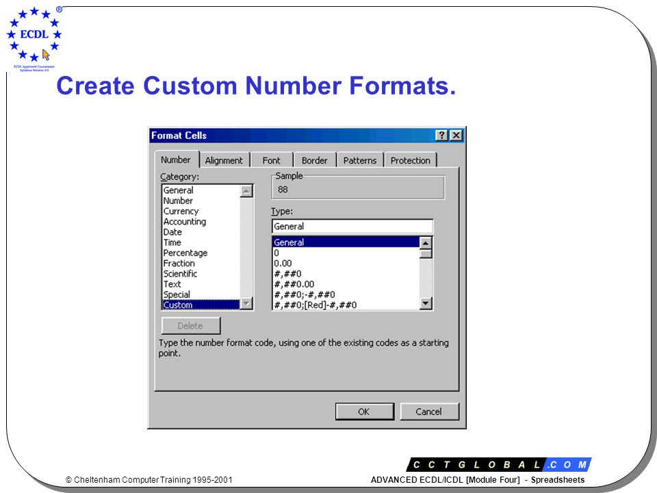 © Cheltenham Computer Training 1995-2001 ADVANCED ECDL/ICDL [Module Four] - Spreadsheets Advanced Module 4 Section 3 Functions