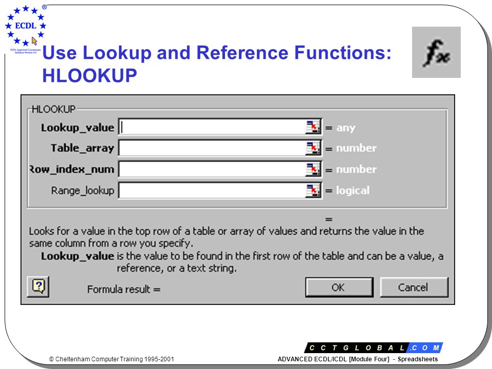 © Cheltenham Computer Training 1995-2001 ADVANCED ECDL/ICDL [Module Four] - Spreadsheets Use Lookup and Reference Functions: HLOOKUP
