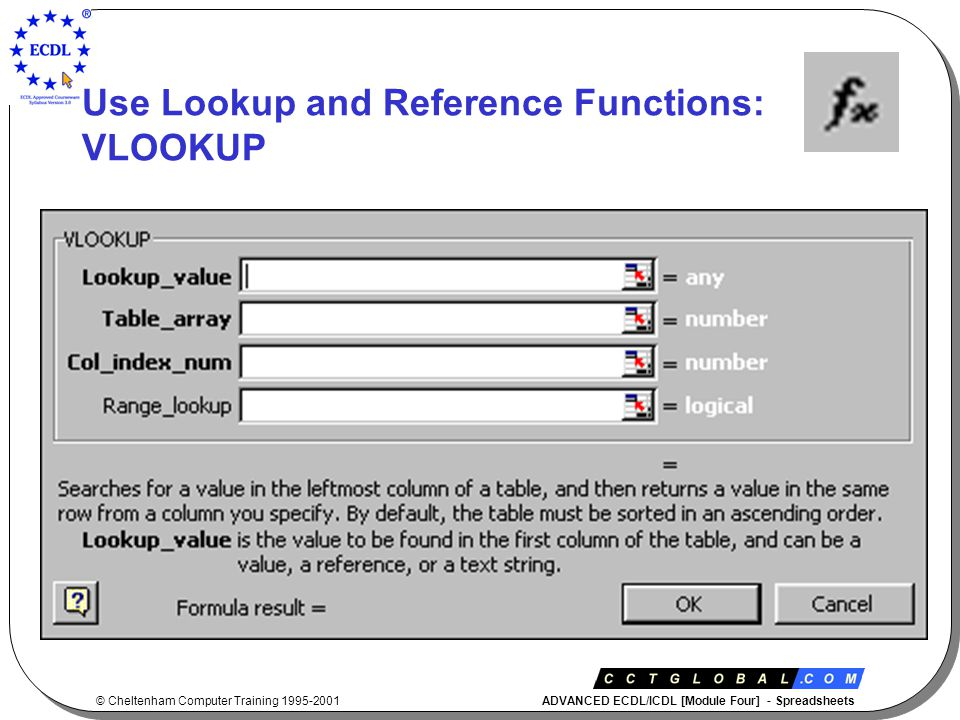 © Cheltenham Computer Training 1995-2001 ADVANCED ECDL/ICDL [Module Four] - Spreadsheets Use Lookup and Reference Functions: VLOOKUP