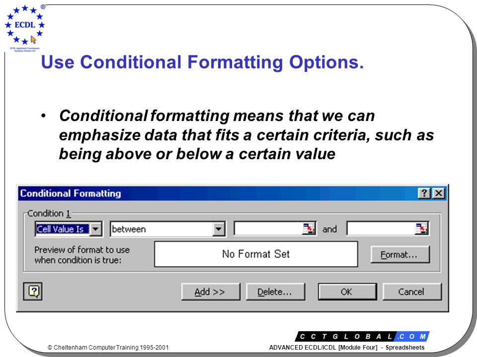 © Cheltenham Computer Training 1995-2001 ADVANCED ECDL/ICDL [Module Four] - Spreadsheets Using Functions …