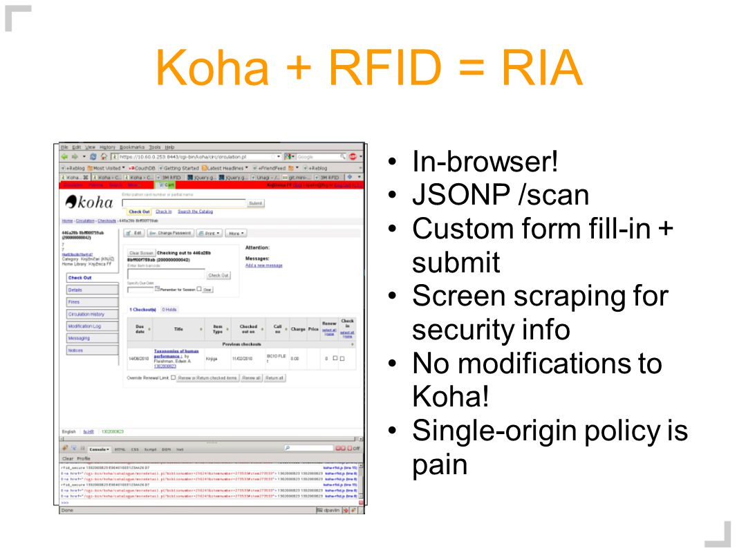 Koha + RFID = RIA In-browser.