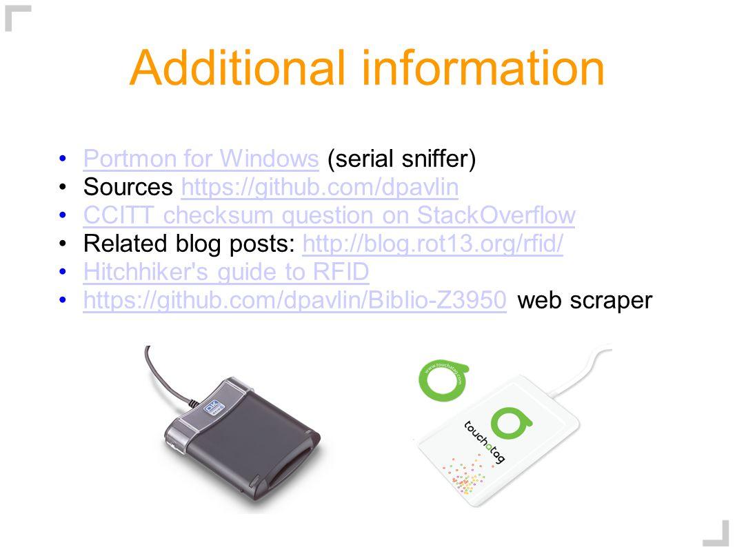 Additional information Portmon for Windows (serial sniffer) Portmon for Windows Sources https://github.com/dpavlinhttps://github.com/dpavlin CCITT che