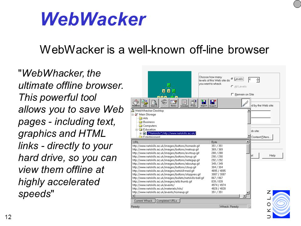 12 WebWacker WebWacker is a well-known off-line browser WebWhacker, the ultimate offline browser.