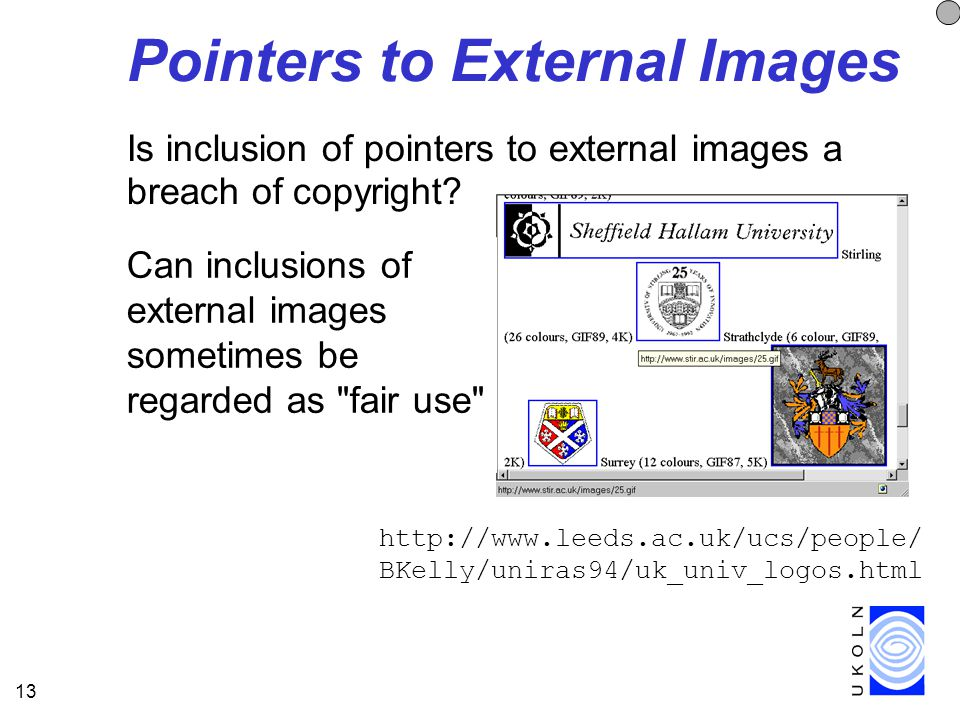 13 Pointers to External Images Is inclusion of pointers to external images a breach of copyright.