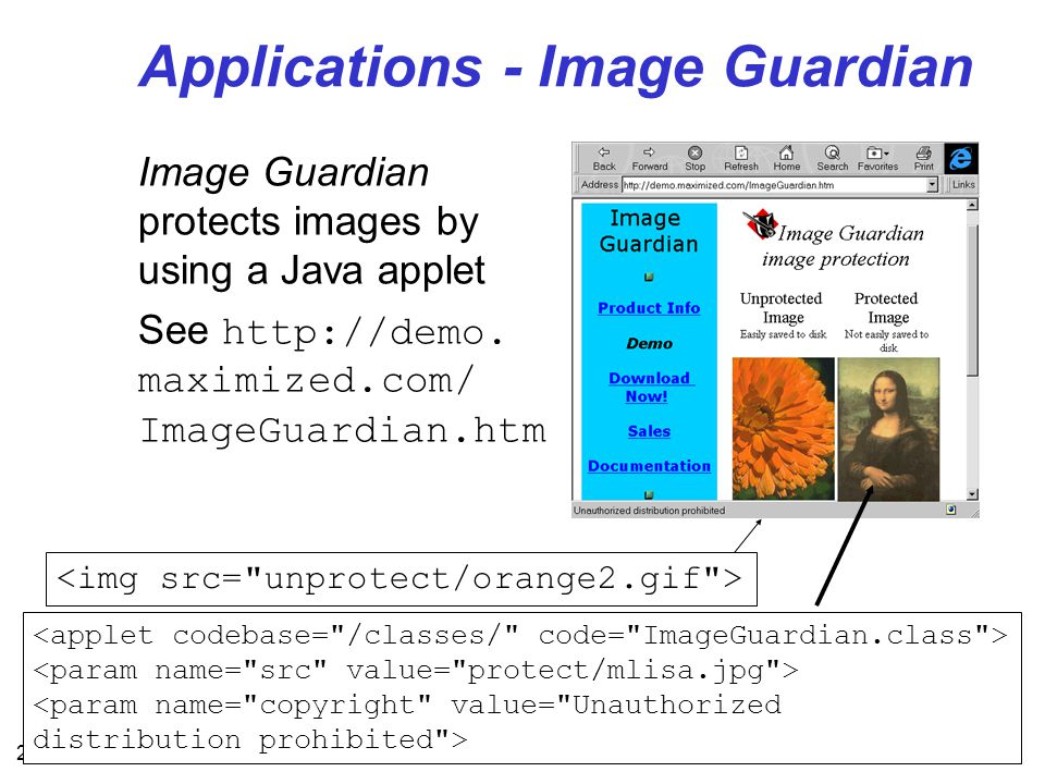 28 Applications - Image Guardian Image Guardian protects images by using a Java applet See http://demo.