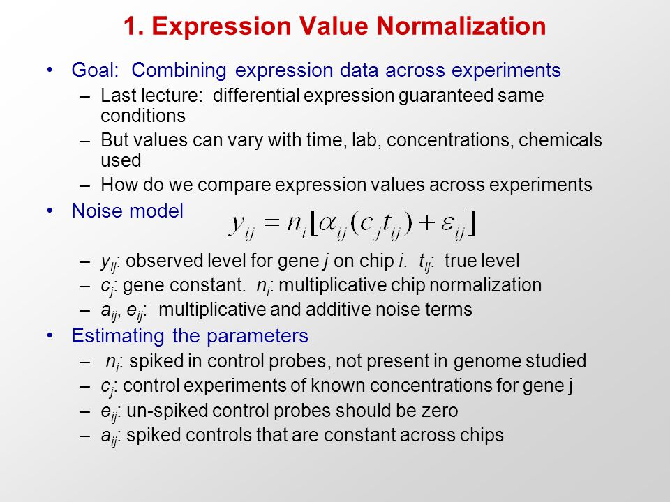 Goal: Combining expression data across experiments –Last lecture: differential expression guaranteed same conditions –But values can vary with time, l