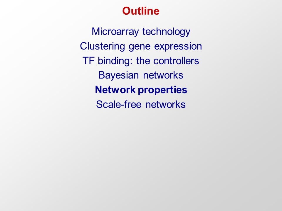 Outline Microarray technology Clustering gene expression TF binding: the controllers Bayesian networks Network properties Scale-free networks